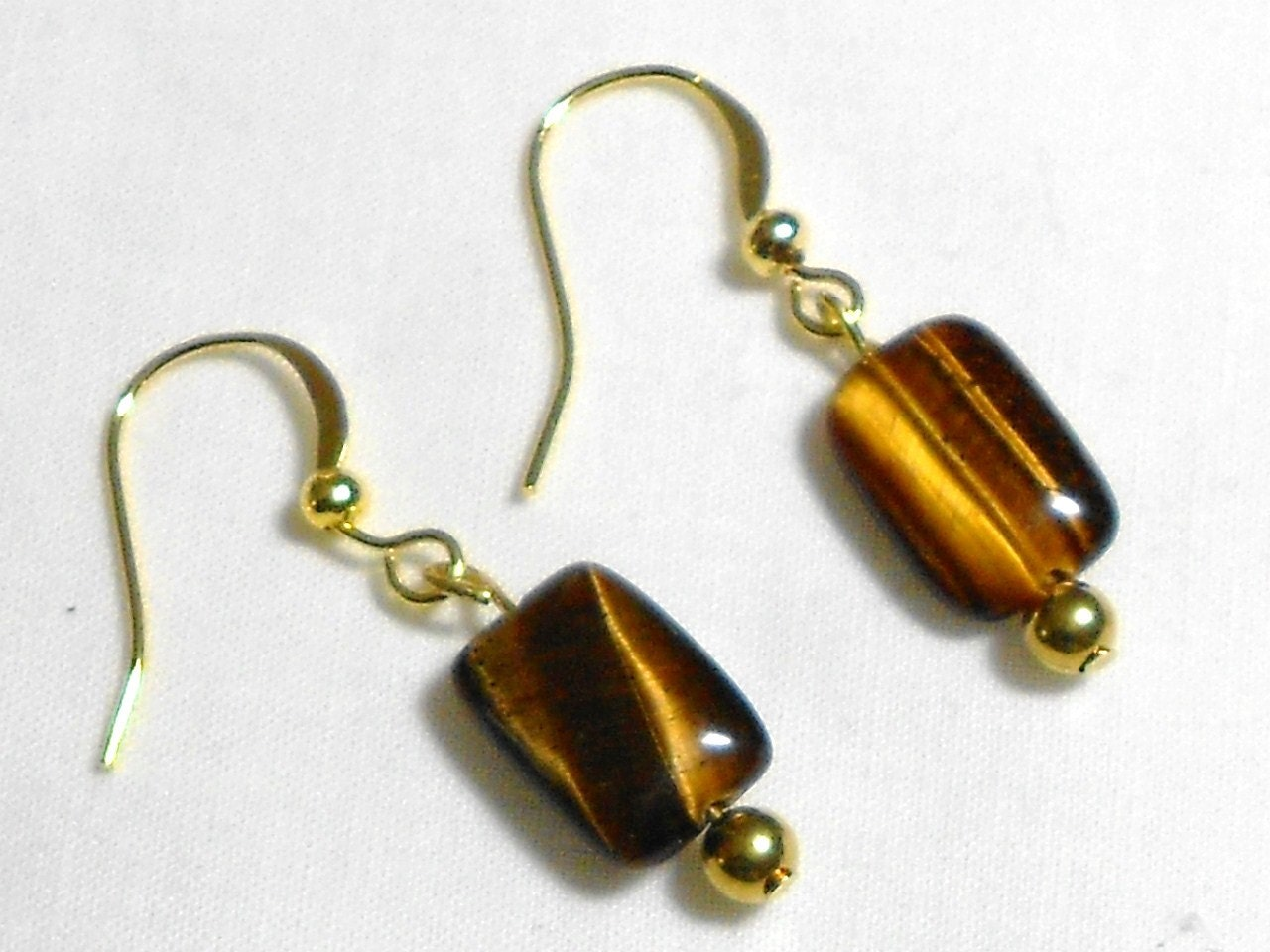 tiger eye earrings brown earrings glass bead earrings drop