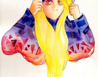 Colorful Girl in Hoodie Original Watercolor Painting