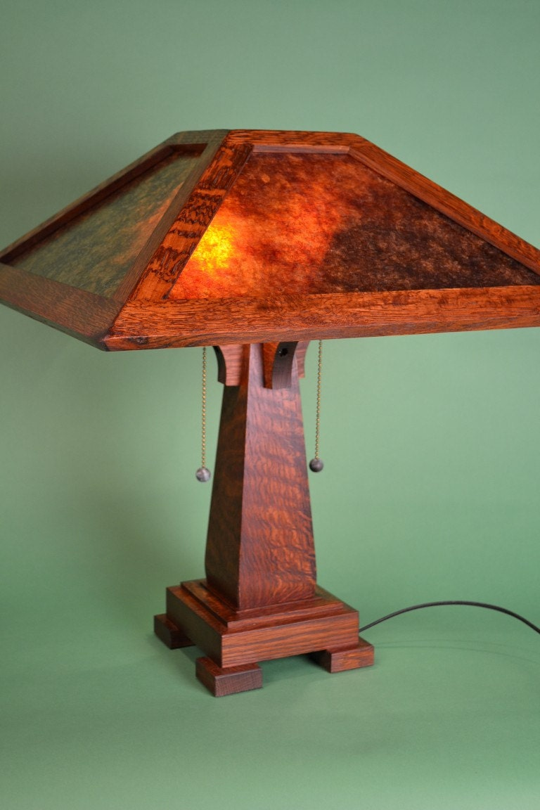 This arts and crafts mission style mica table lamp for Arts and crafts style table