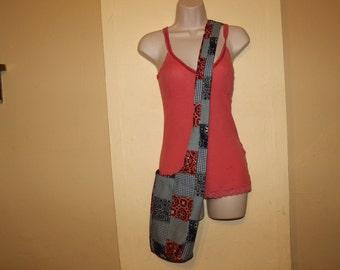 Patchwork bandana/bandana cross body reversible hobo/sling bag