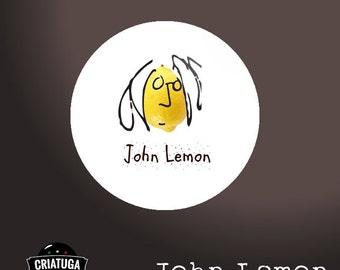 JOHN LENNON LEMON      badge / pinback button/ fridge magnet -  several sizes