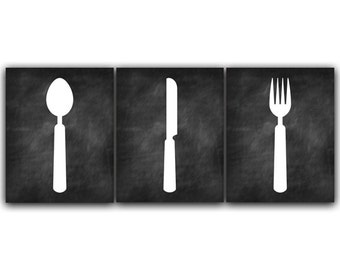 Home Decor Wall Art, Chalkboard Kitchen CANVAS, Fork and Spoon Wall Decor, Kitchen Wall Decor, Chalkboard Art Print, Kitchen Decor - HOME50