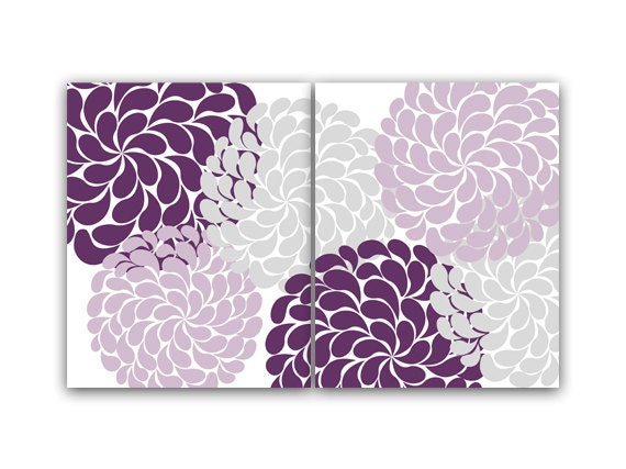 purple and gray flower burst wall art home decor wall art. Black Bedroom Furniture Sets. Home Design Ideas
