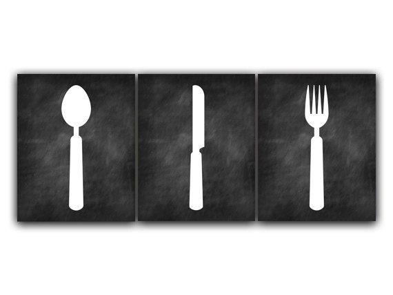Home Decor Wall Art Chalkboard Kitchen CANVAS Fork and Spoon