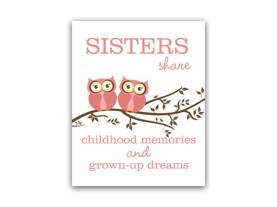 Items Similar To Sisters Wall Art, Owl Nursery Decor