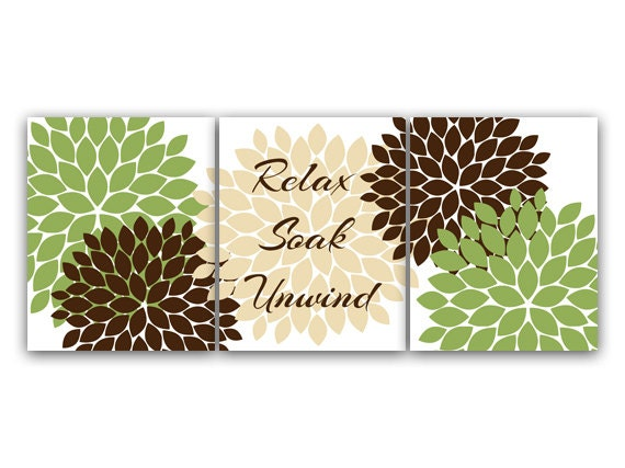 Green and brown bathroom wall art relax soak unwind green for Brown and green bathroom designs