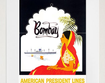 India Travel Poster Bombay Mumbai Art Print Home Decor (ZT388)