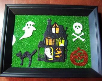 Handmade Halloween Sticker Art Ghosts Black Cat Skull Bones Jack O' Latern