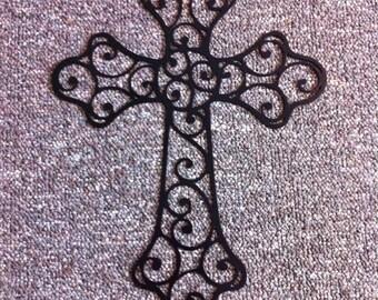 Scroll Cross Metal Wall Art Religious Hand Made Metal Scroll Cross