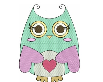 Instant Download Cute Owl Machine Embroidery Design comes in three sizes to fit 4x4 , 5x7, and 6x10 hoops