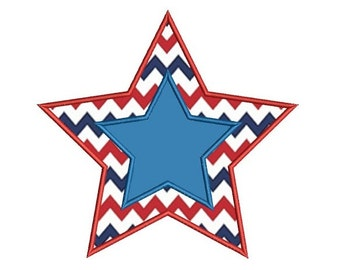 Star Applique Machine Embroidery Digitized Design Pattern - Instant Download - 4x4 , 5x7, 6x10