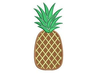 Pineapple Applique Machine Embroidery Design Digitized Pattern - 4x4 , 5x7, and 6x10 hoops