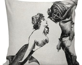 "Mermaid Pillow, Throw Pillow Covers, Pillow Cover, Pillowcase, Pillow Case Covers, Pillow Case, 18"", Mermaid meets Scuba Diver #UE0049"