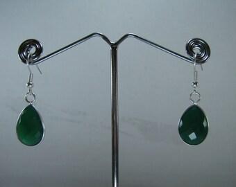 Clearance Sale, Green Chalcedony Dangle Earring Pair