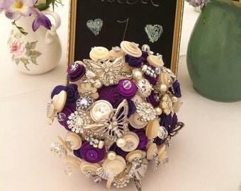 Button Bouquet Deposit - Purple and Ivory Butterfly