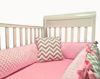 Baby Bedding Bumpers Pink Minky & Grey Chevron