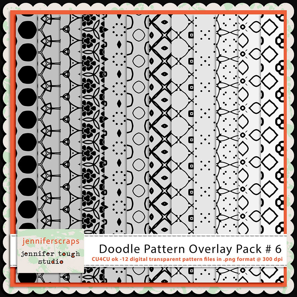 Instant download set of 12 digital paper overlays templates for Pattern overlay