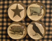 Set of 4 Primitive Magnets - Crow - Sheep - Pig - Star - Primitive - Spring Finds - OFG Team