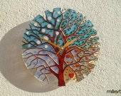 Hand Painted Glass Clock, Wall Clock, Painting on Glass, Tree Clock, Stained Glass Clock, Painted Glass Art, Glass Wall Art,Four Seasons Art