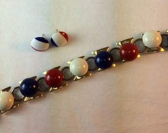 Vintage Red White And Blue Bracelet And Earrings