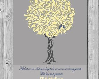Bride Groom Parents Wedding Art Print, Groom Bride Parents Gift, Wedding Tree Art Print, Wedding Art Print Gift 166