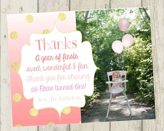 Pink Ombre Thank You Card, First Birthday Thank You Card, Photo Thank You Card, Pink and Gold Thank You Card, First Birthday Thank You Girl