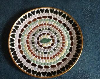 Vintage Large Mosaic Tile and Gold Tone Aluminum Dish