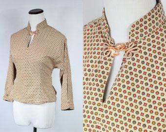 S a l e • 40's/50's Cotton Printed Mandarin Collar Keyhole Blouse • Sz Sm
