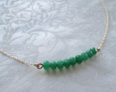 Green jade necklace , gold filled necklace , bar necklace , horizontal bar , emerald color necklace ,gift for her