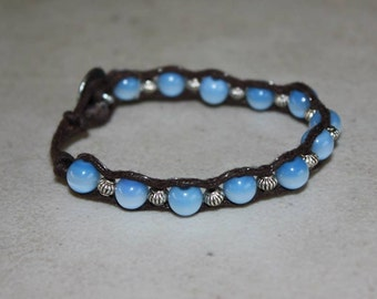 Sky Blue Glass Beaded Bracelet