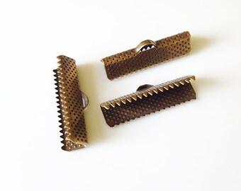 75 pcs 25mm Ribbon Clamp End Crimps Bronze Tone -