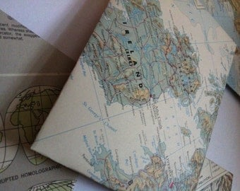 Envelopes Made from Vintage Atlas Paper