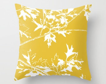Autumn Leaves and Branches Throw Pillow  - Fall Decorative Pillow - Home Decor - Mustard Yellow - By Aldari Home