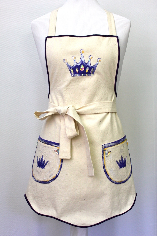 canvas apron woman 39 s apron royal apron fun apron. Black Bedroom Furniture Sets. Home Design Ideas