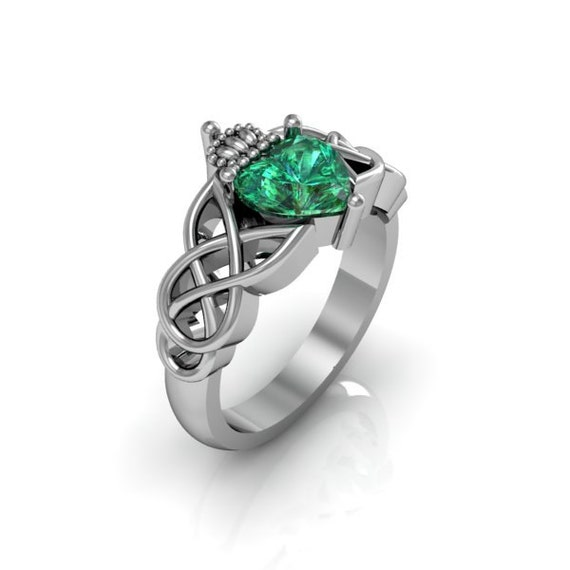 Claddagh Ring - Sterling Silver Emerald Love and Friendship Engagement  Wedding Anniversary Promise Ring