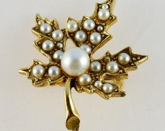 ART© Pearl-Encrusted Maple Leaf Pin 1960s