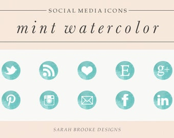 Mint Watercolor Social Media Icon Set, Circles