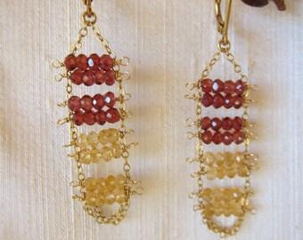 Citrine, Smoky Topaz 14K Gold Filled Handmade Earrings