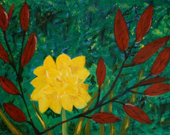 Yellow Daffodil, Red Leaves, Impressionist, Garden Flower, Floral, Canvas Board, Original Acrylic Painting, Ready to Frame, 16 x 12 Inches