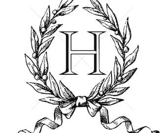 Digital Wedding Monogram // H // Custom Monogram // Digital Initial H // Laurel Wreath // Custom Logo Monogram // Instant Download