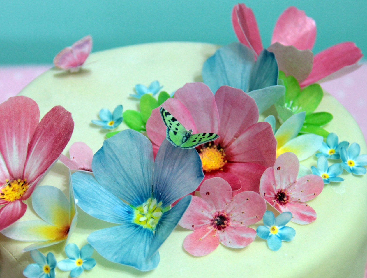 Edible wafer paper flowers cake decorations cupcake and