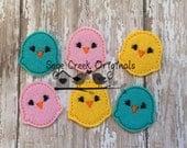 Baby Chicks  - Set of 4, Easter Feltie, Felt Applique, Clippie