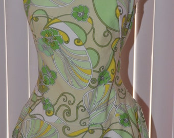 Vintage Pin up Cole of California Saks Fifth Avenue Green and Yellow Swim Suit