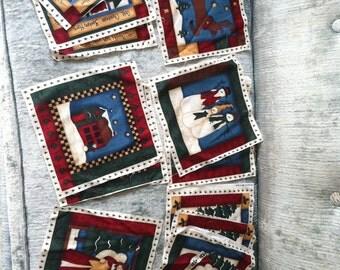 Christmas Fabric Squares - Set of 12