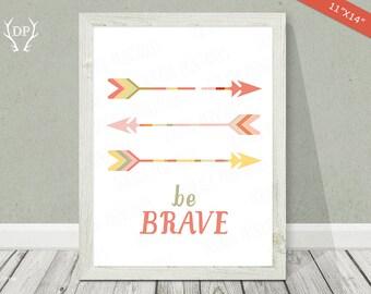 Arrows print art | Nursery wall art | Be brave | Quote print | Baby girl pinky cream tribal room decoration | Digital printable