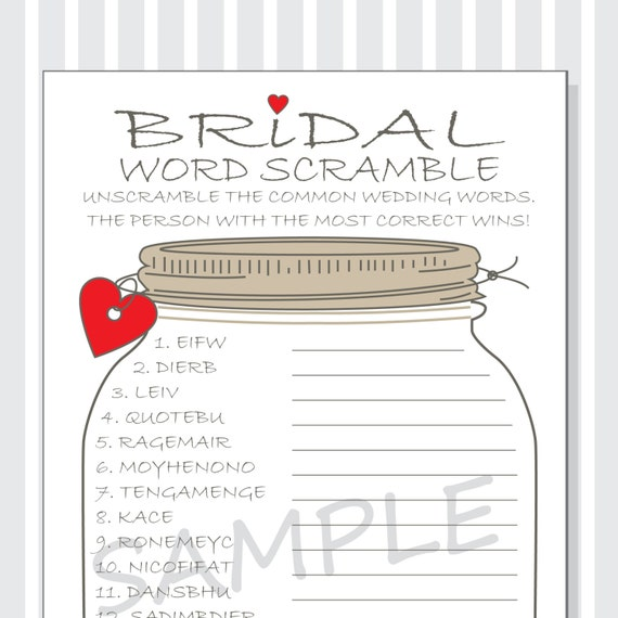 Printable Game Cards for a Bridal Shower DIY - Rustic Mason Jar ...