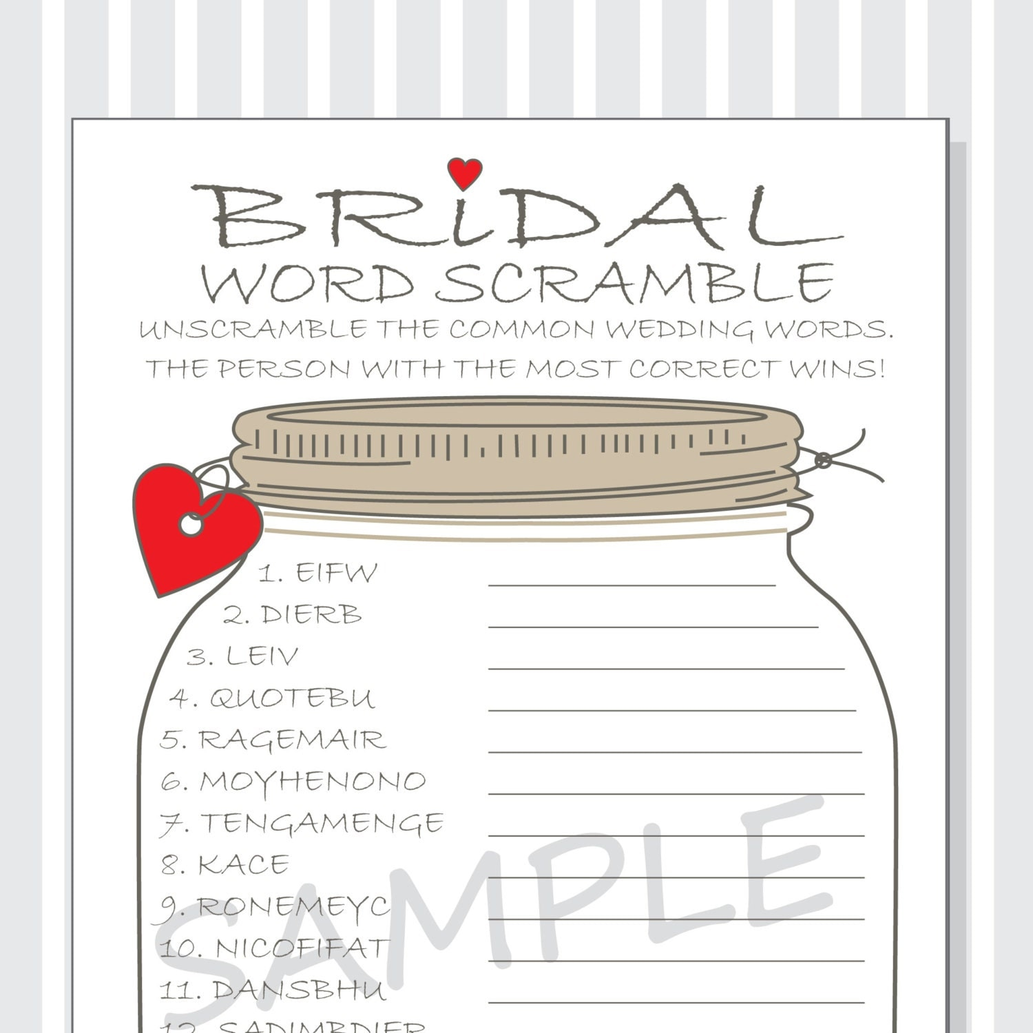 This is a graphic of Impertinent Free Printable Bridal Shower Games Word Scramble