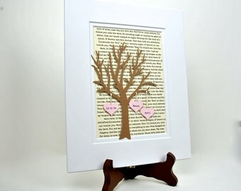 Personalized Anniversary Gift - 3D Paper Tree with Hearts -Paper Anniversary Gifts - Boyfriend or Girlfriend Gift- Husband or Wife Gift