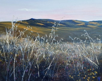 Acrylic painting on canvas. Tuscan landscape. Atmospheric evening sky, vibrant rolling hills.