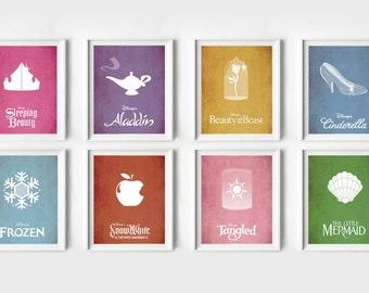 Disney INSTANT DOWNLOAD - 8 x Disney Movie Posters - Disney Princess, Poster, Minimalist Print, Digital Art Print